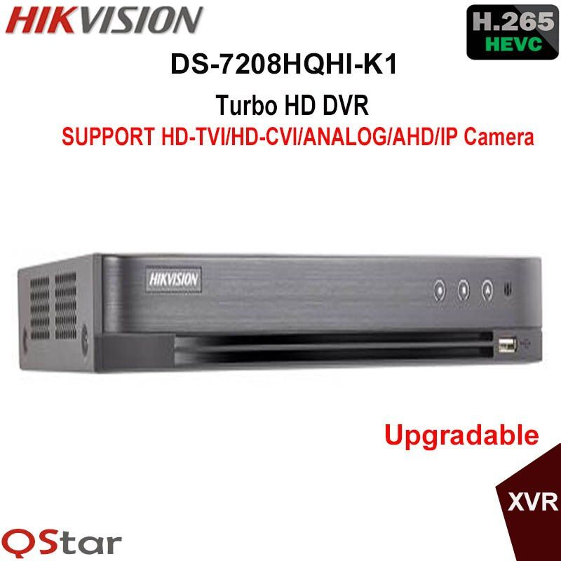 Hikvision H.265 Turbo HD DVR DS-7208HQHI-K1 replace DS-7208HQHI-F1/N support HDTVI/HDCVI/AHD/Analog/IP Camera Up to 3MP record