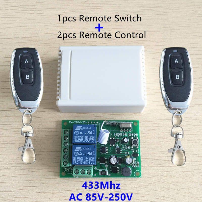 433 мГц Универсальный Беспроводной Дистанционное управление переключатель AC 250 В 110 В 220 В 2ch реле Модуль приемника и 2 шт. rf 433 мГц Пульты дистан...