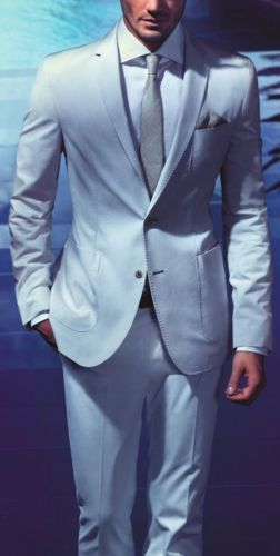 Italin Fashion Tuxedos Custume Made Terno Slim Fit Style Notch Lapel Two Buttons Sky Bule 4Pieces(Jacket+Pant+handkerchief+Tie)