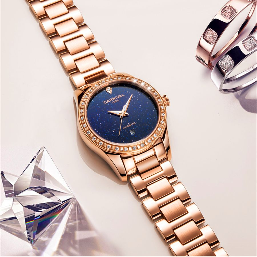 Luxury Brand Automatic Mechanical Watch Women Gold Steel Bracelet Watch 30M waterproof Rhinestone Ladies Dress Watches relogio