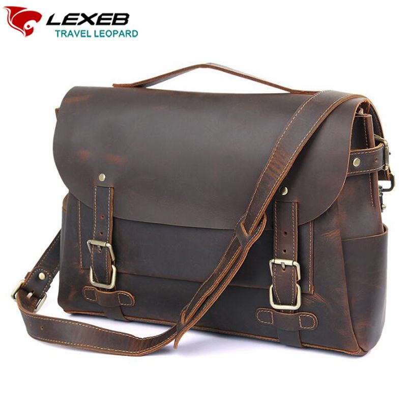 LEXEB Full Grain Crazy Horse Leather Satchel Briefcases For Men 14 Inch Laptop Bag Vintage Top Quality Messenger Bags,Tote Brown