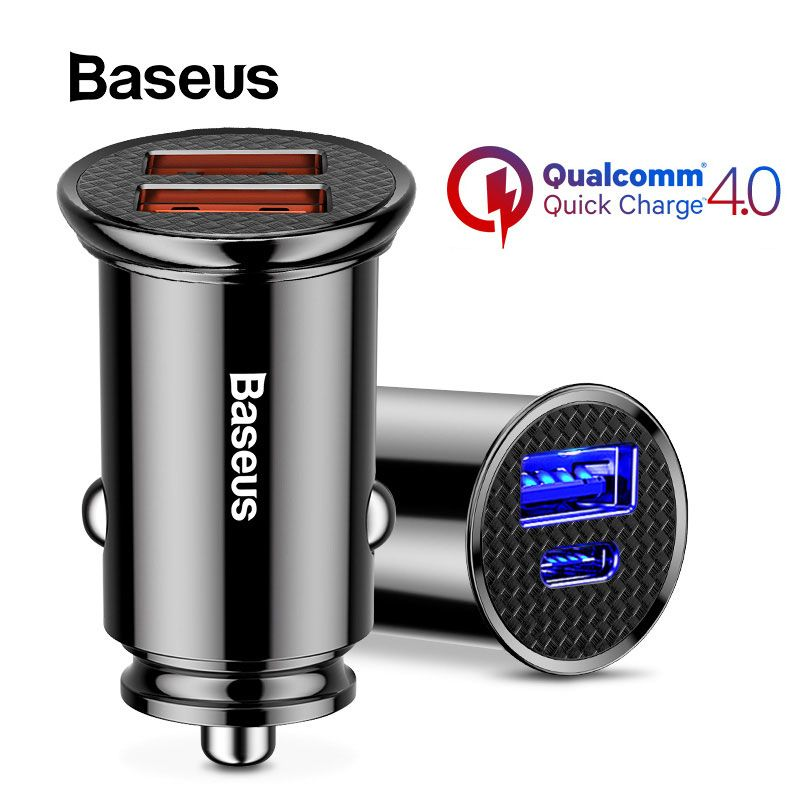 Baseus Quick Charge 4.0 3.0 Car Charger For iPhone Xs Max 30W QC3.0 QC4.0 SCP AFC Dual USB Car Charger For HUAWEI P20 Samsung S9