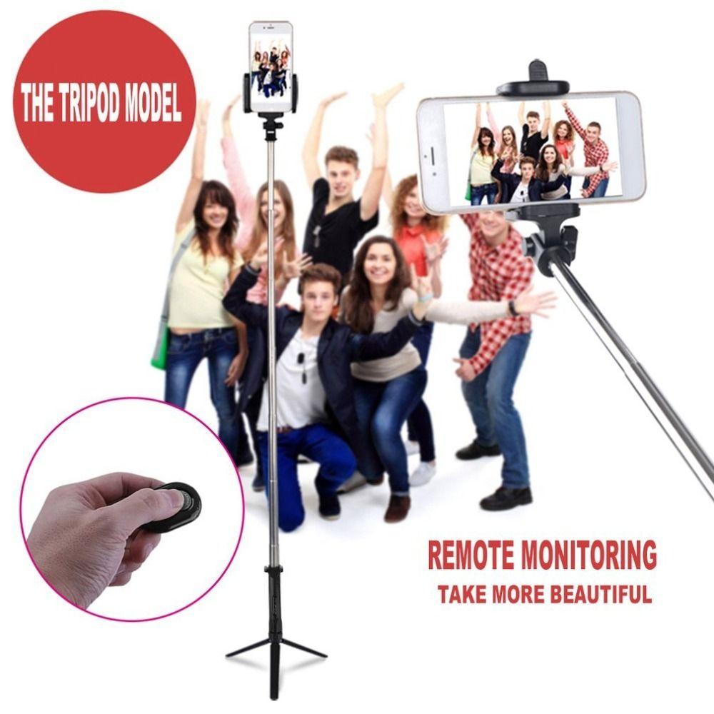 Edelstahl 4 in 1 Wireless Bluetooth 4,0 Fernauslöser + Handheld Handy Selfie Stick Einbeinstativ + Stativ + Halter für IOS Andro