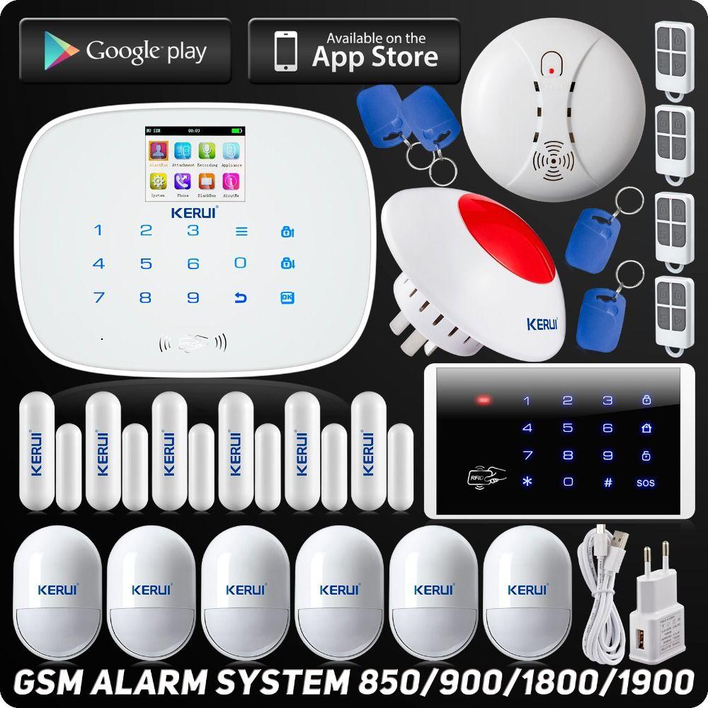 DHL Kostenloser Versand Wireless Home Alarm System Alarm Drahtlose RFID Touch Tastatur Wireless Rauchmelder Pet Immune Motion Sensor