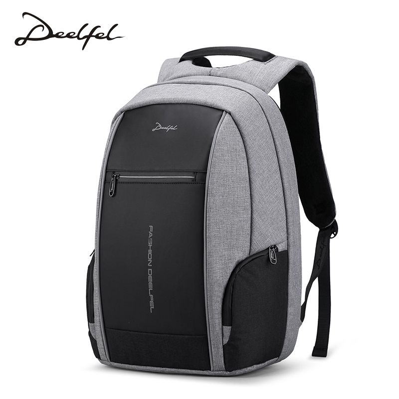 DEELFEL 2018 New Backpack Men Laptop Backpack for 15.6 inch Charging USB <font><b>Port</b></font> Computer Backpacks Male Waterproof Men Travel Bags