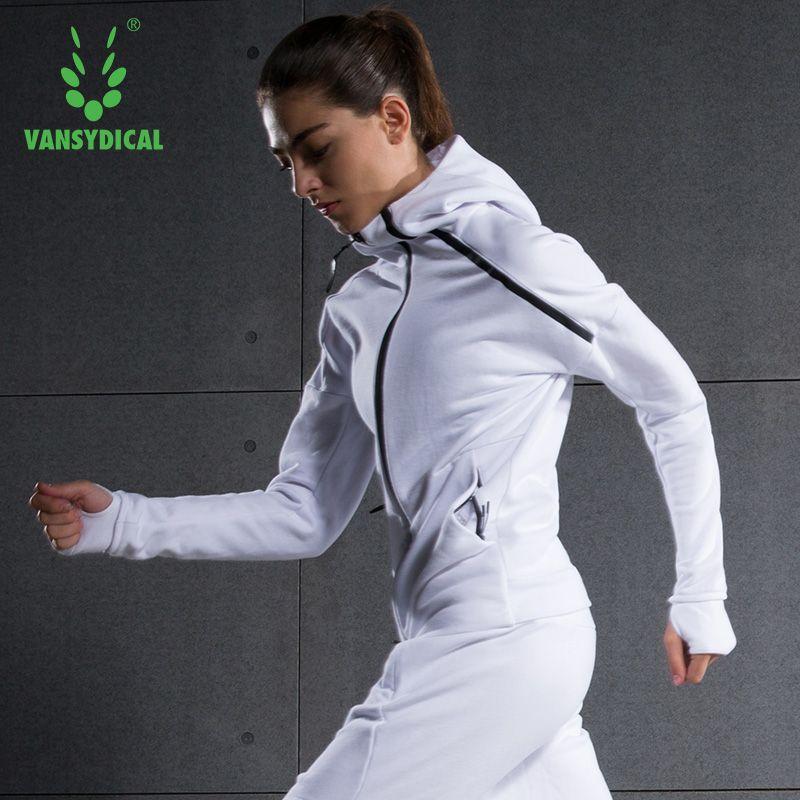 2016 Women Running Jacket Windcoat Cotton Sweat Long Sleeve Zipper Hooded Outwork Female Sportswear