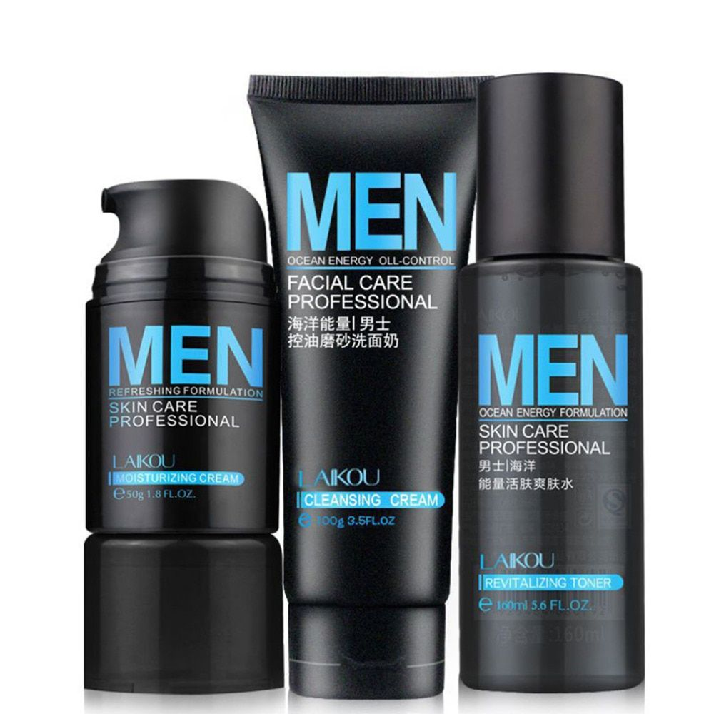 3Pcs/set Ocean Energy Men Deep Cleansing Moisturizing Hydrating Oil Control Acne Blackhead Face Care Exfoliating Skin Care
