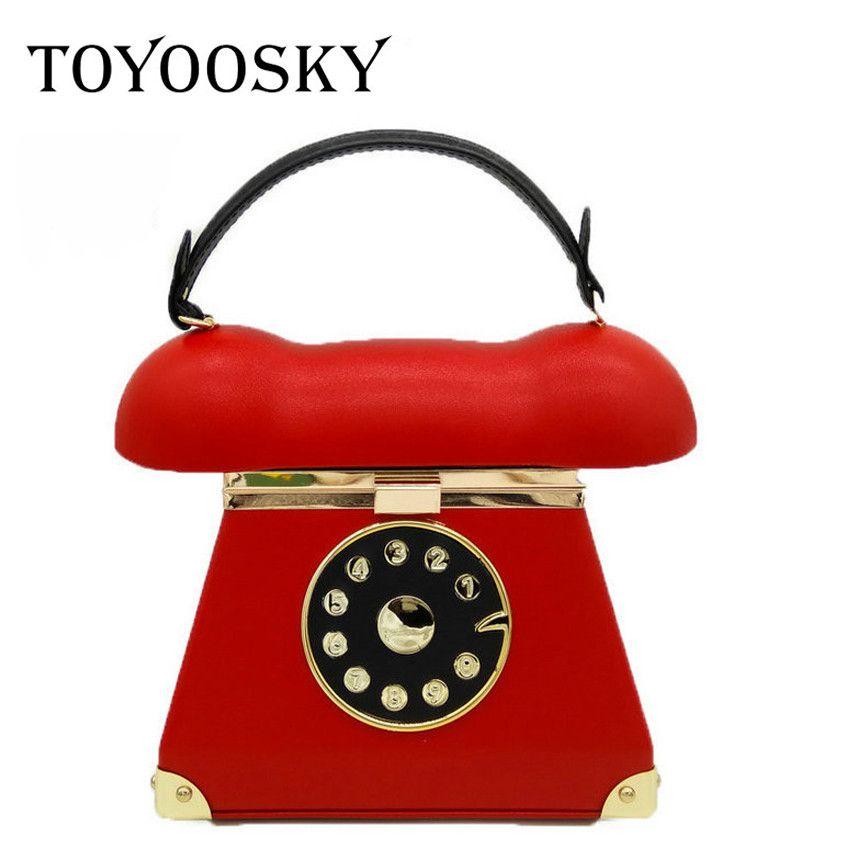 TOYOOSKY Funny Personality Phone Shape Handbag Ladies Pu Leather Chain Shoulder Bag Flap Crossbody Messenger Bag Evening Bags