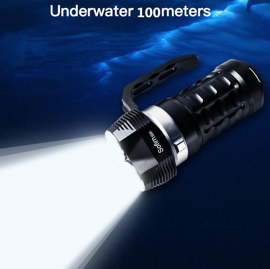 Sofirn SD01 Scuba Diving Flashlight 3* Cree XPL 3000LM LED Light Underwater Searchlight 18650 Powerful Dive Light LED Flashlight