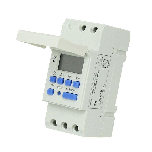 Livraison gratuite CE DIN RAIL numérique 16 ensembles PROGRAMMABLE minuterie interrupteur AC 220 V/110 V, DC 12 V 16A 25A bon temporizador Din Rail