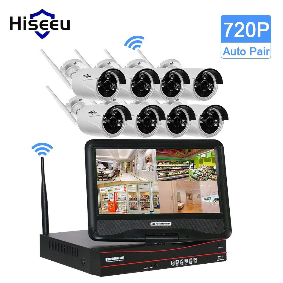 3TB HDD 10 Inch Displayer 8CH 720P Wireless CCTV System Wireless NVR IP Camera IR-CUT Bullet CCTV Home Security System CCTV Kits