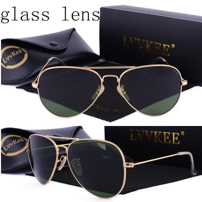 Роскошные классические стеклянные линзы солнцезащитные очки пилота солнцезащитные очки-авиаторы мужчины женский 58 мм Óculos gafas-де-сол UV400 пр...