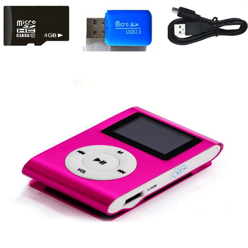 2 gb Speicher auto Mini USB Clip LCD ScreenMP3 Musik-Player Unterstützung MP3 Player USB Daten Linie Kopfhörer Sport Metall musik-Player