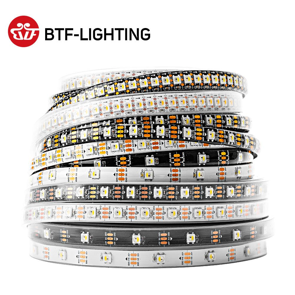 1 m/4 m/5 m SK6812 led bande (similaire ws2812) 30/60/144 led/m, RGBW + NW/CW/WW, IP30/65/67, 5050SMD intégré SK6812, 4in 1 adressable, DC5V
