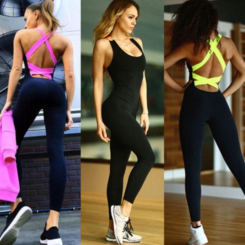 2019 une pièce Sport vêtements dos nu Sport costume d'entraînement survêtement pour les femmes en cours d'exécution serré danse Sportswear Gym Yoga femmes ensemble