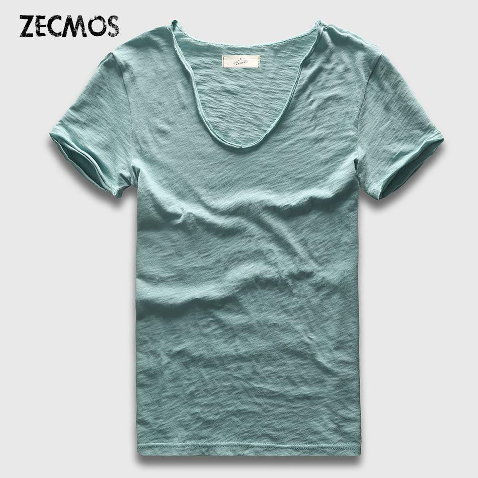 Zecmos marque hommes T-Shirt plaine Hip Hop mode décontracté XXXL col en V T-Shirt Swag pour hommes à manches courtes homme top T-shirts