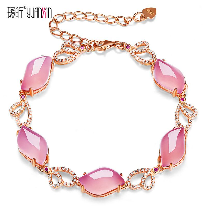 famous brand Natural Semi-precious stones pink chalcedony gold Bracelets Women jewelry girlfriend gift