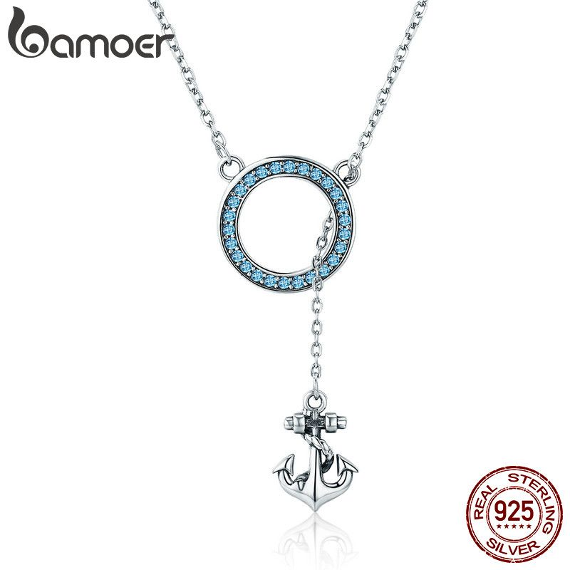 BAMOER Hot Sale 100% 925 Sterling Silver Anchor Round Blue CZ Necklaces for Women Pendant Necklace Luxury Silver Jewelry SCN192