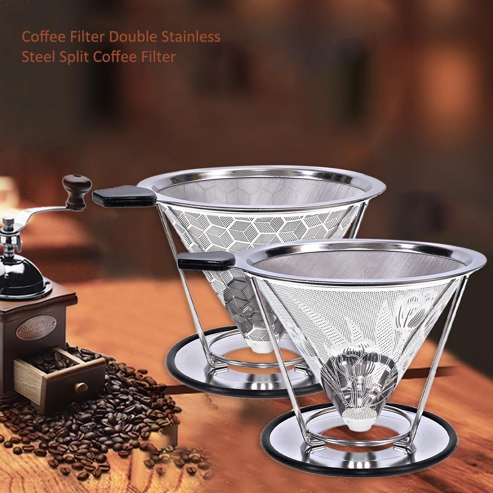 Filtre à café réutilisable conteneur en acier inoxydable maille en métal entonnoir paniers brassage goutte à goutte café filtres goutteur goutte à goutte café filtre tasse