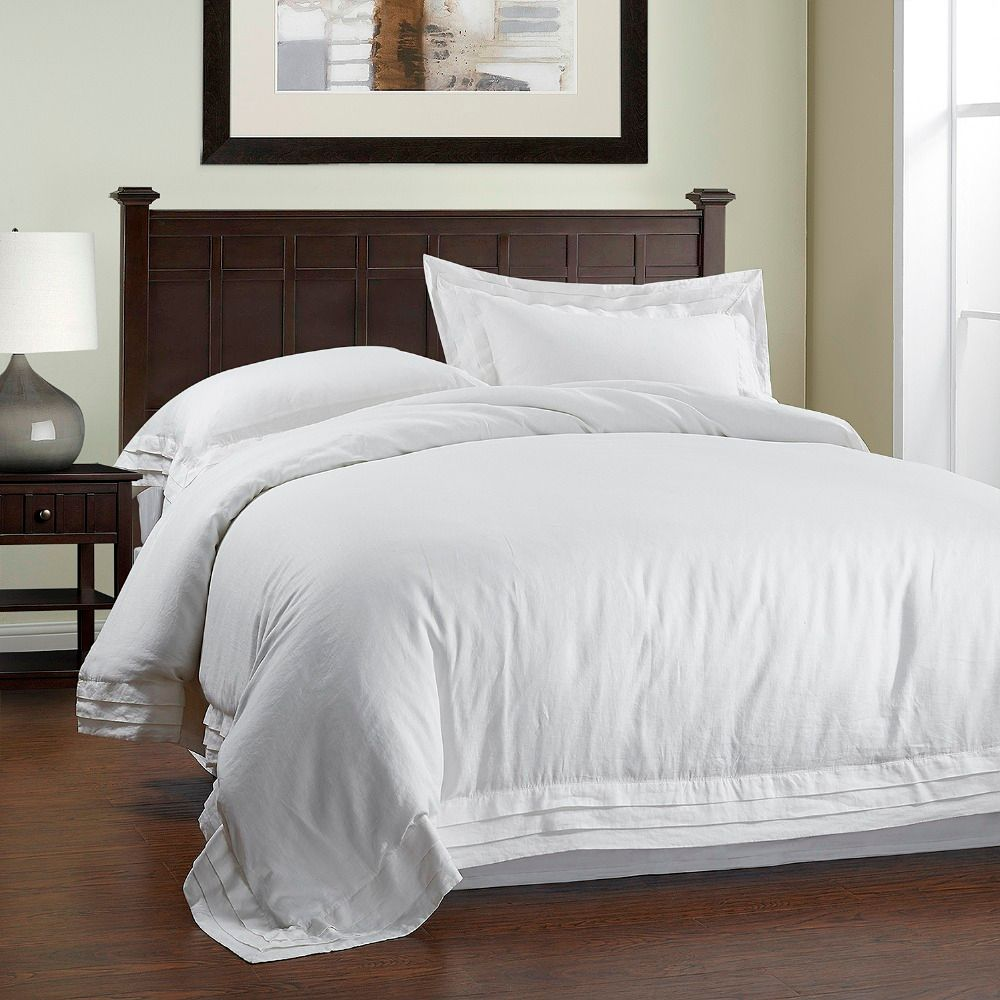 100% Stone Washed Linen Multilayer Frame Plain Duvet Cover Set