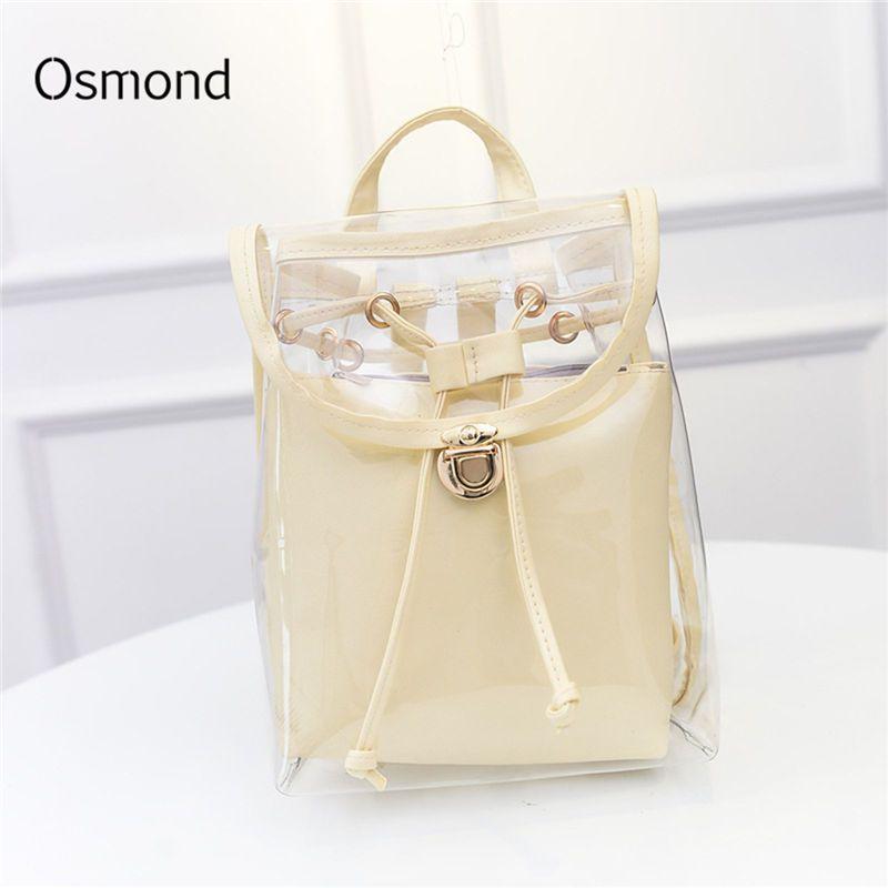 Osmond femmes sacs à dos transparents femme clair sac à dos Preppy sacs d'école pour adolescentes sac à dos Mochila blanc noir 2 pièces