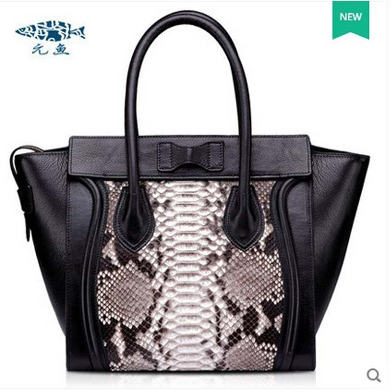 2018 yuanyu New snake skin bag leather handbag wing bag imported python genuine snake leather bag