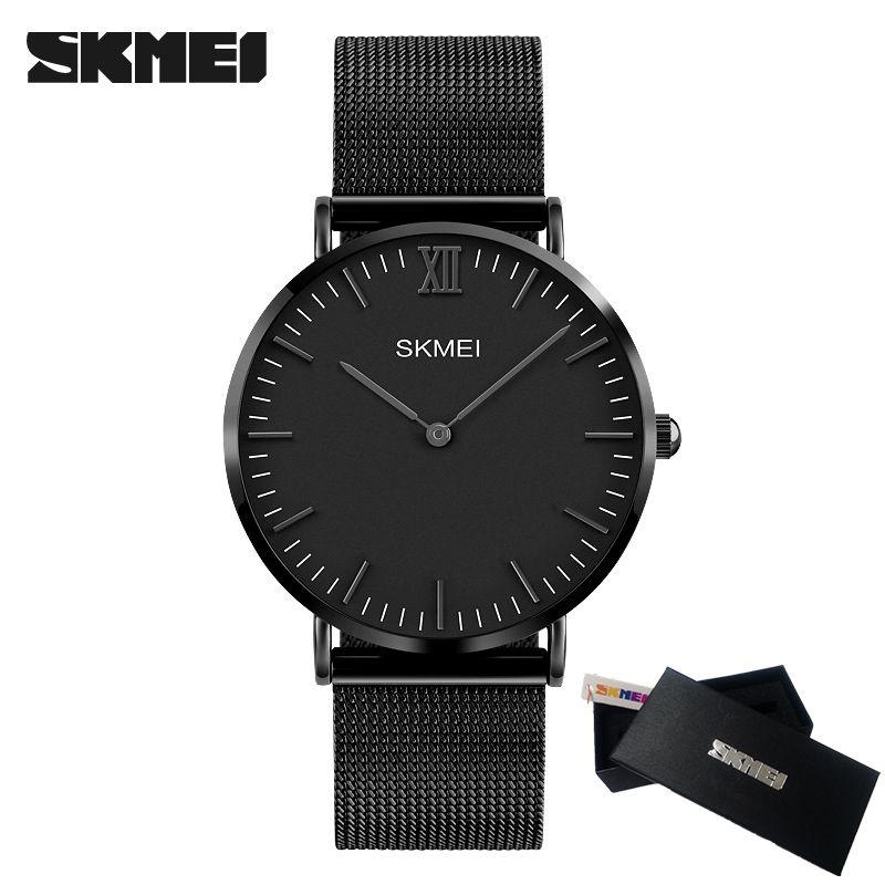 SKMEI Luxury Brand Men Watch <font><b>Ultra</b></font> Thin Stainless Steel Clock Male Quartz Sport Watch Men Waterproof Casual Wristwatch relogio