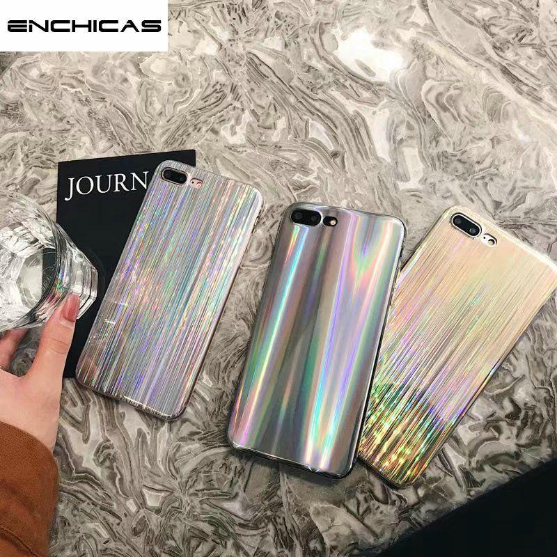 ENCHICAS Iridiscentes Holográfico Brillante Láser de Casos para el iphone X 6 6 S 7 8 Plus Cepillado Patrón Girls Thin Shell Fundas Cubierta de Coque