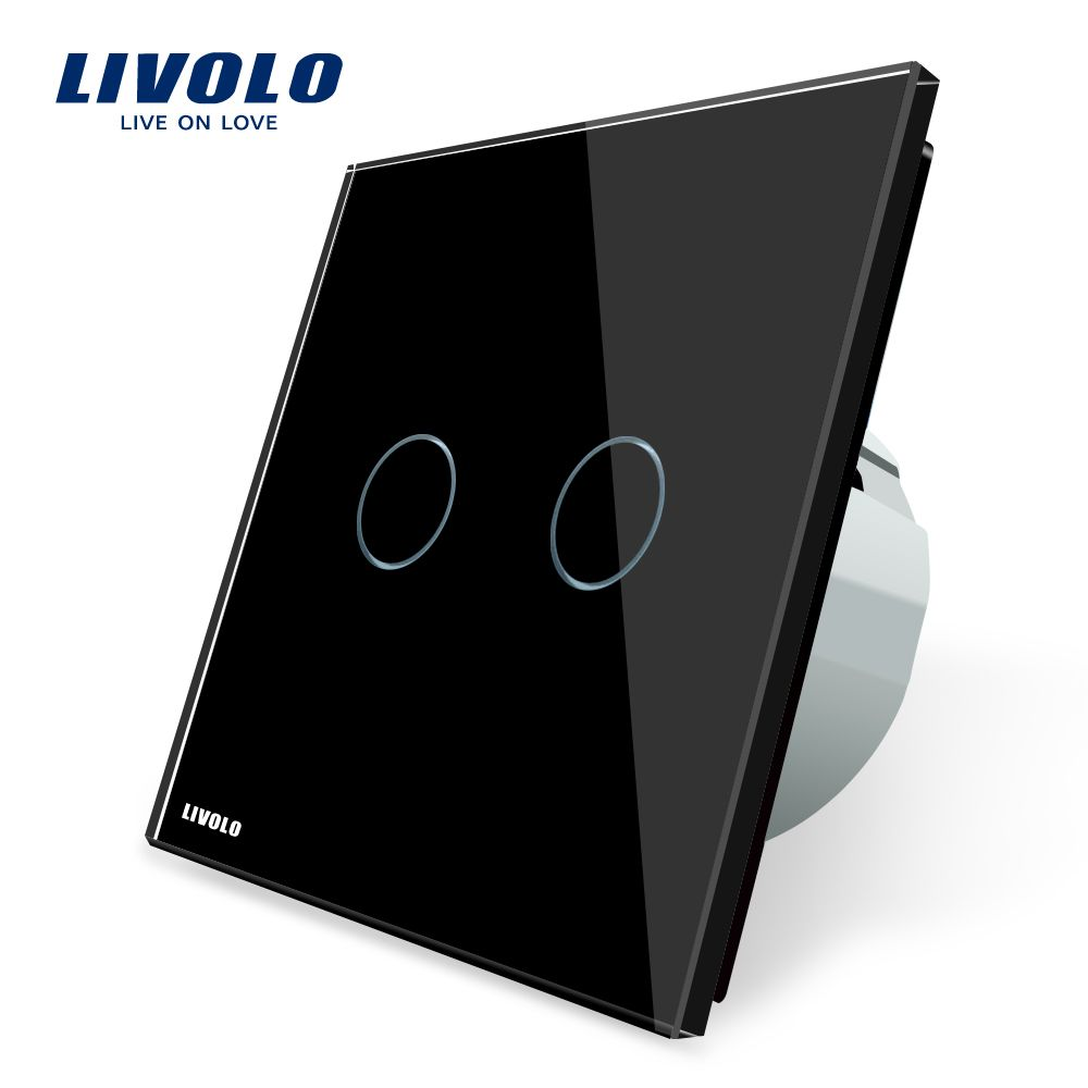 Livolo 2 Gang 1 Way Wall Touch Switch, White <font><b>Crystal</b></font> Glass Switch Panel, EU Standard, 220-250V VL-C702-1/2/3/5