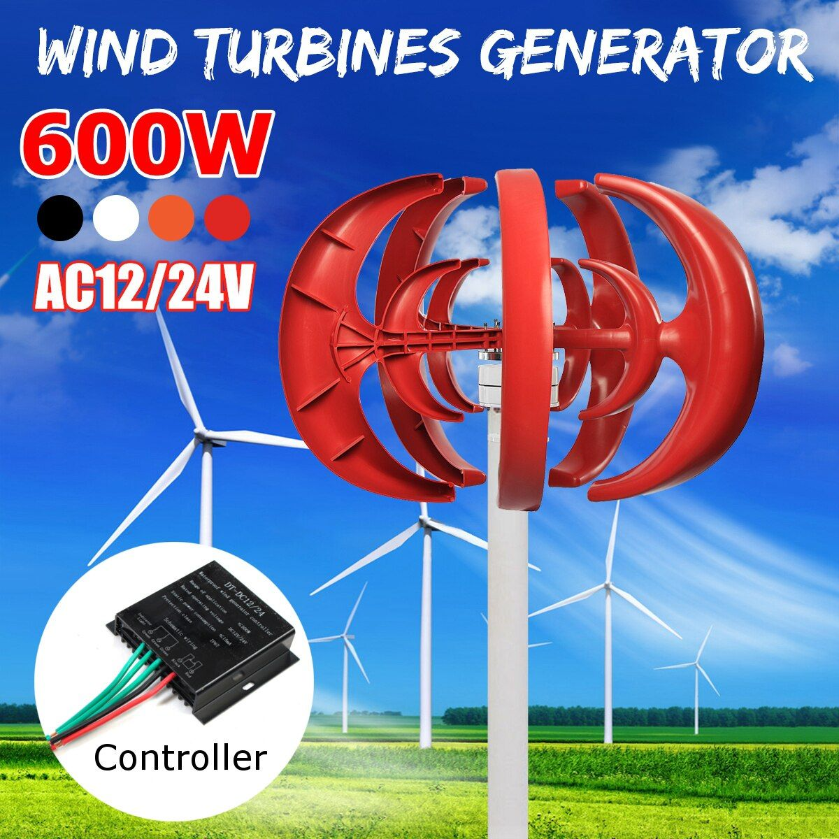 Wind Turbine Max 600W DC 12V 24V Combine With 600W English Wind Generator Controller Home For Home Hybrid Streetlight Use