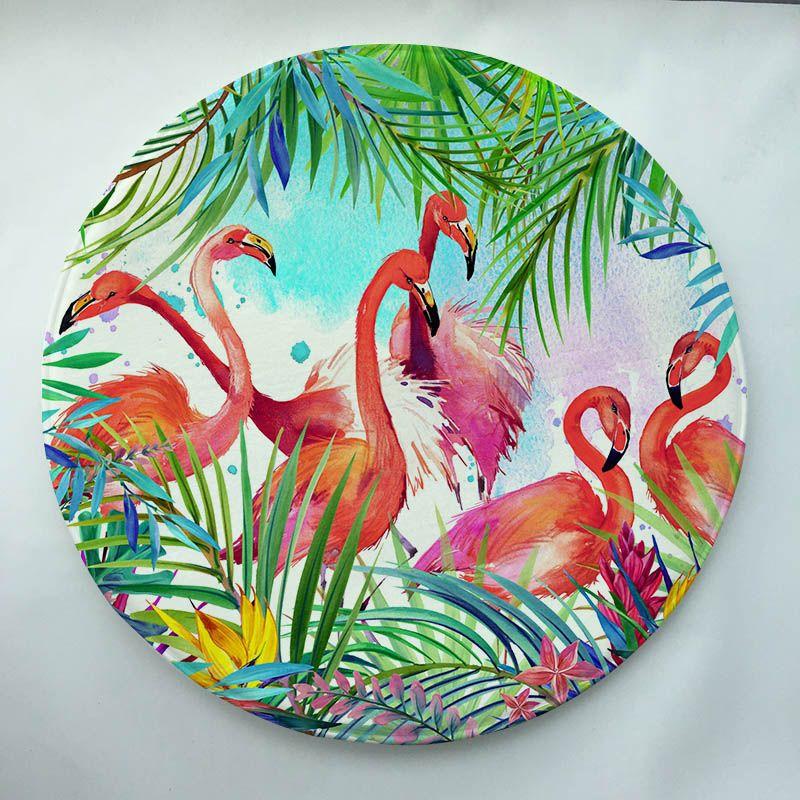 flamingos Print Custom Round Doormat Non-slip Rug Pad Carpet Kids Room Home Decor Floor Mat Water Absorption Mat