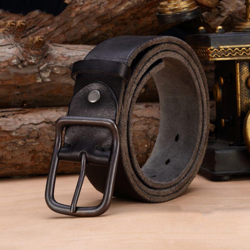 De luxe en cuir véritable ceinture hommes vintage en cuir ceintures hommes de jeans sangle noir couleur large cerclage ceinture string noir