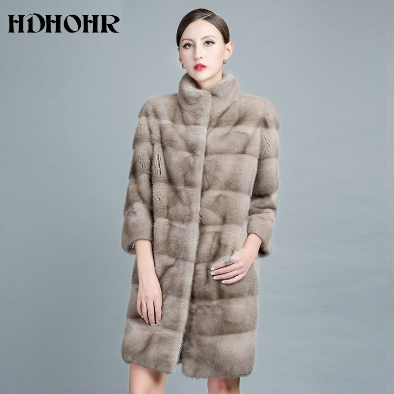 HDHOHR 2018 New Natural Mink Fur Coats For Women Outwear Park With Fur For Female Warm Vest Winter Real Mink Fur Jackets