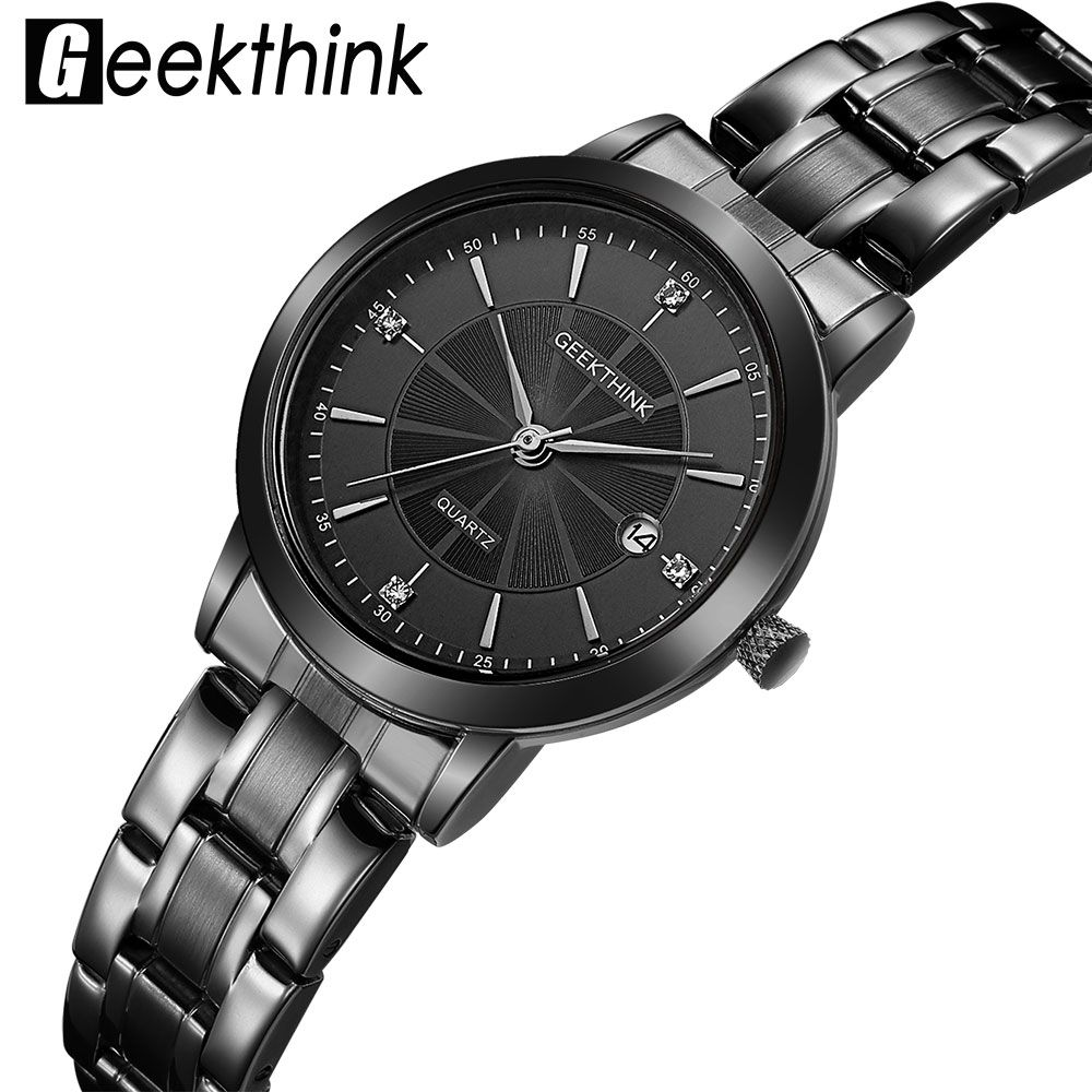 GEEKTHINK Top Luxury Brand Black Stainless Steel Quartz Watch Women Dress Ladies Wristwatch Lover's Gift Female clock