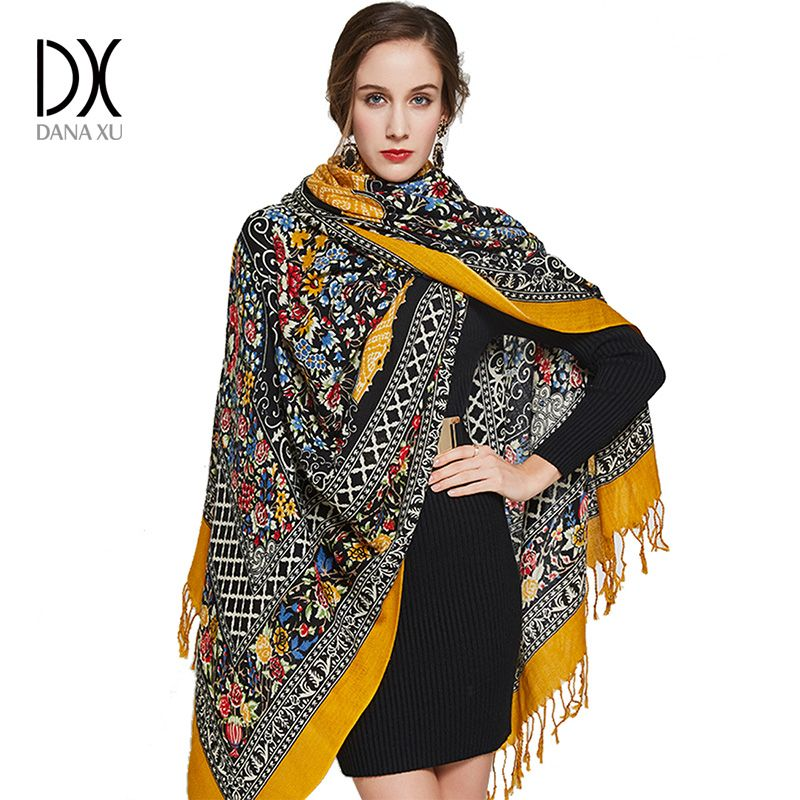 Square Wool Scarves Stoles Women Warm Shawl Bandana Scarf Luxury Brand Hijab Beach Blanket Face Shield Echarpe Winter Poncho