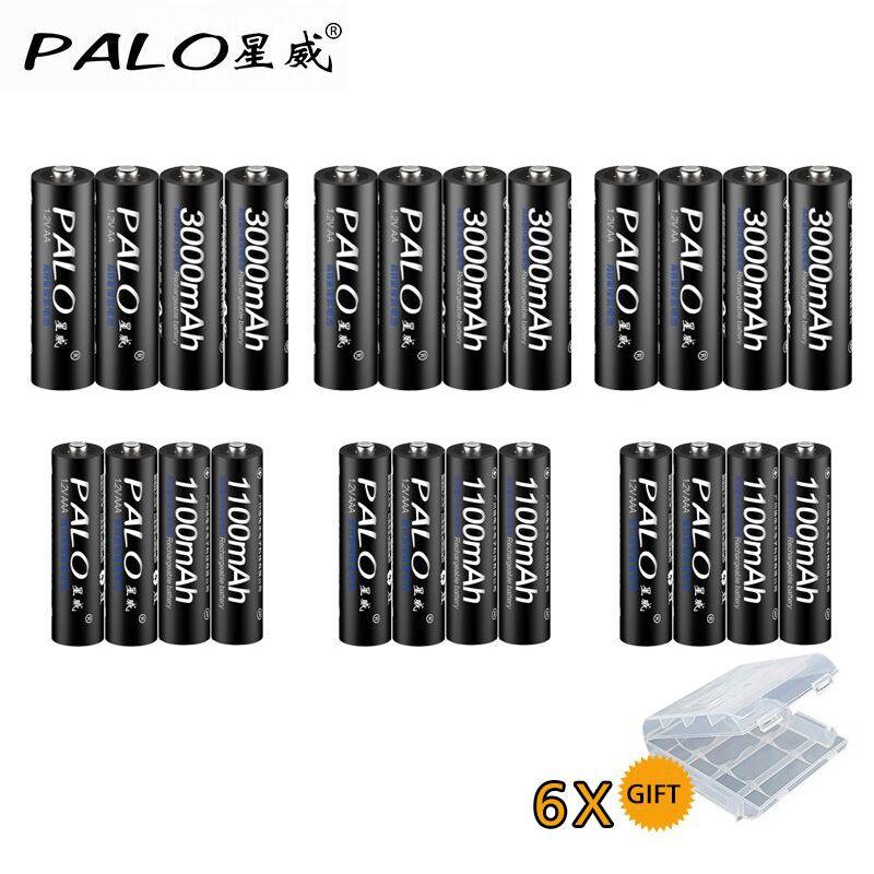 PALO 12Pcs 1.2V 3000mAh AA Batteries+12Pcs 1100mAh AAA Batteries NI-MH AA/AAA Rechargeable Battery