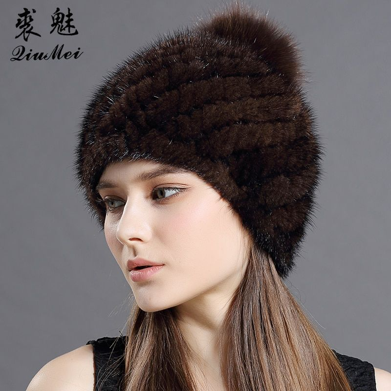 QiuMei Real Mink Hat With Fox Fur Pompoms Hat For Women New Brand Thicken Female Fur Caps Ladies Winter Knitted Mink Fur Beanies