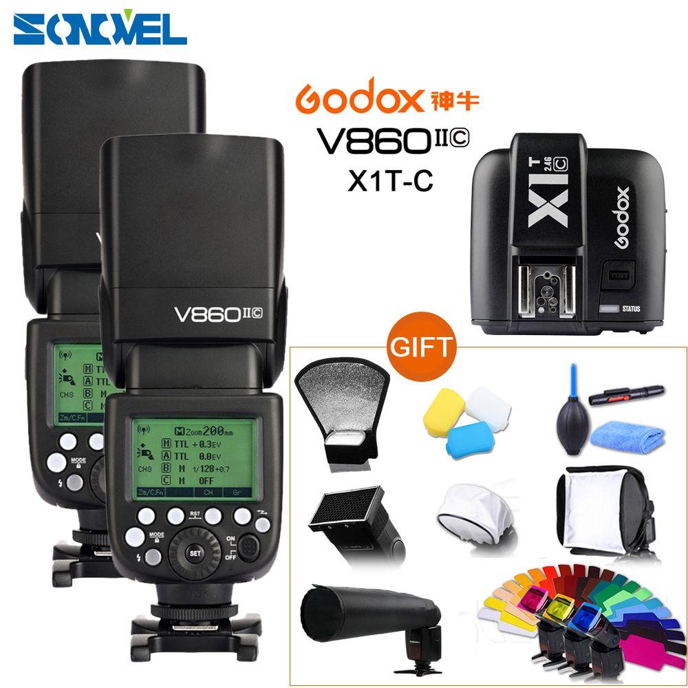 Free DHL 2x Godox V860II-C Speedlite GN60 HSS 1/8000s TTL Flash Light +X1T-C Wireless Transmitter for Canon +10 Gift Kit