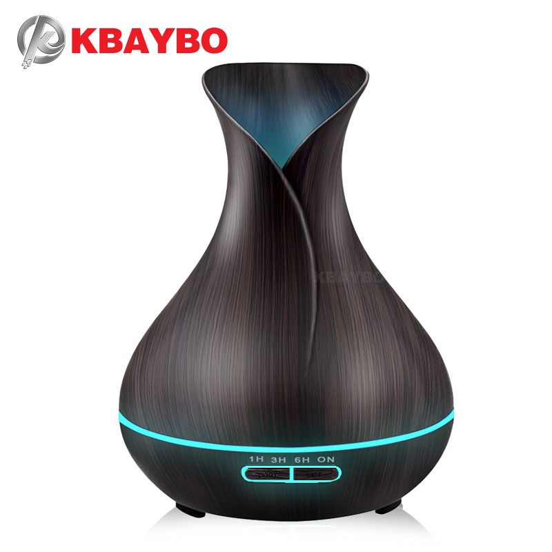 Ultrasonic Air Humidifier Aroma Essential Oil Diffuser with Wood Grain 400ml 7 LED Lights for Office Home