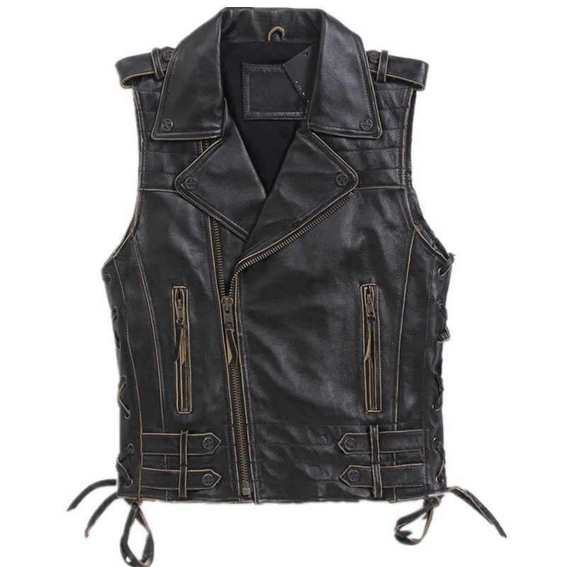 2018 Vintage Black Men Short Biker's Leather Vest Plus Size XXXL Genuine Cowhide Slim Fit Riding Leather Vest FREE SHIPPING
