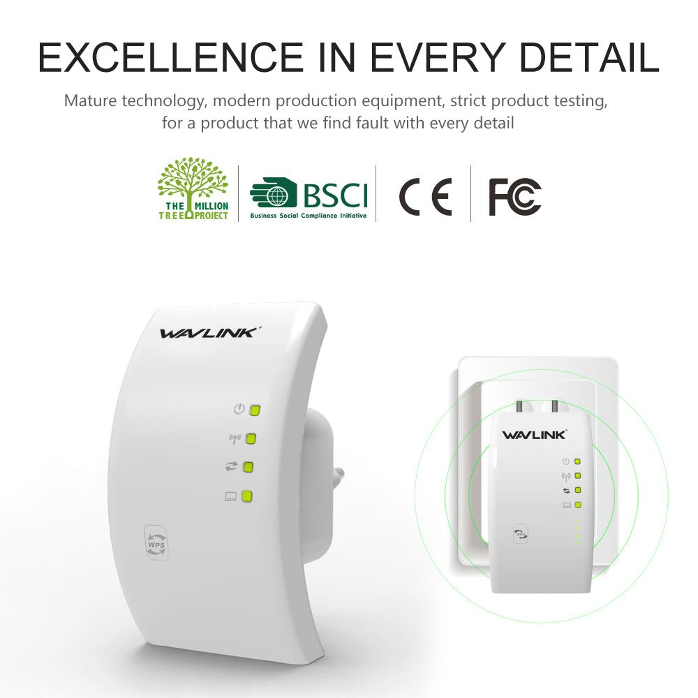 Wavlink Portable 2.4G 300Mbps Wireless Wi-fi Repeater Extender 802.11n/b/g Wifi Signal Amplifier Signal Booster Wifi Range White