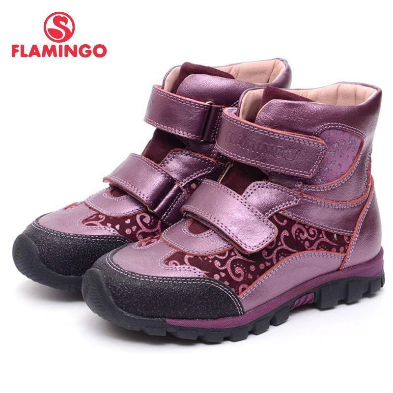 FLAMINGO Herbst Ankle Fühlte Leder Haken & Loop Mode Stiefel Marke Anti-rutsch Kinder Mädchen Schuhe Größe 28- 33 freies Verschiffen XB4877