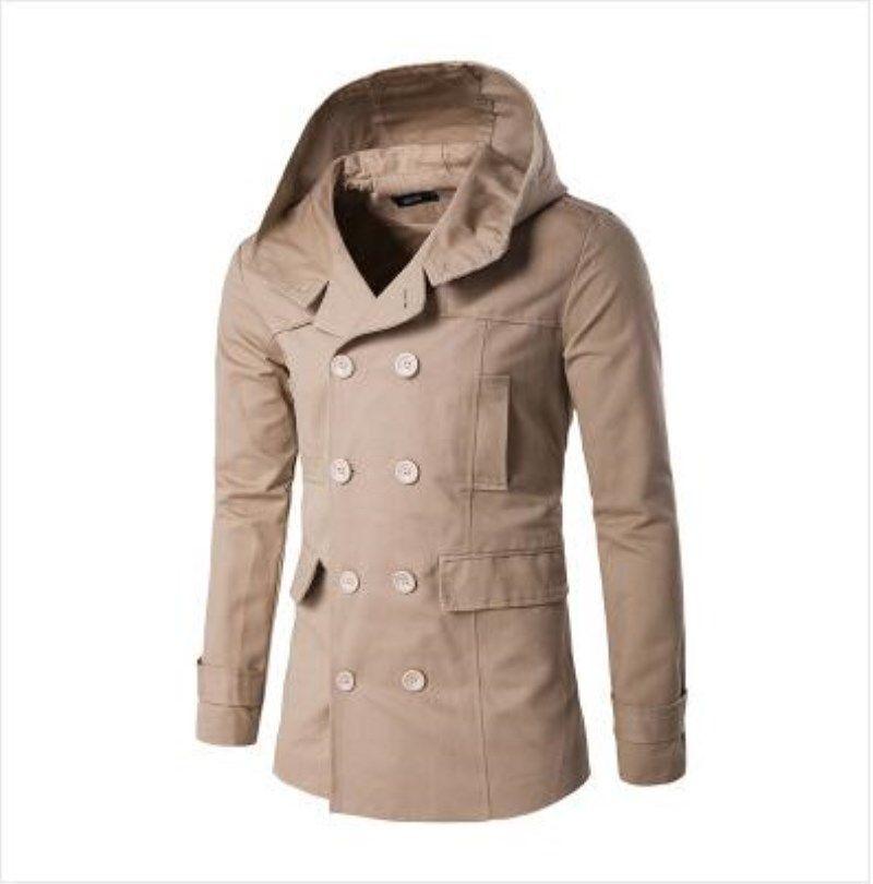 Herbst Winter Neuen Stil Herren Trenchcoat Mode Zweireiher Mit Kapuze Jacke Schlank Trenchcoat Für Männlichen Mantel