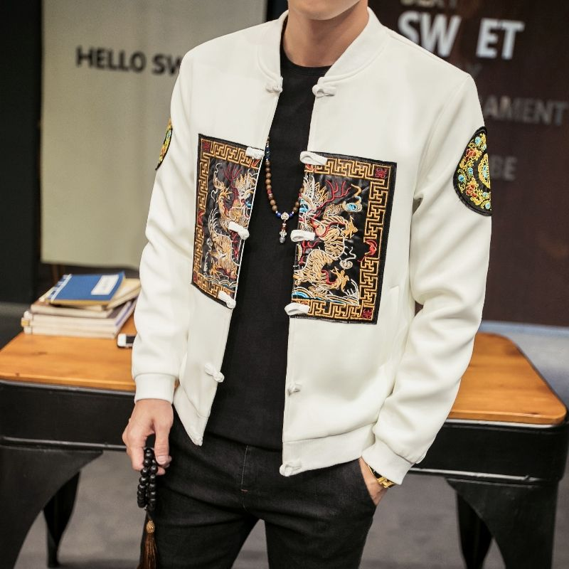 Chinese Style Bomber Jacket 2018 Fashion Long Pao Embroidery Slim Fit Jackets Men Stand Collar Long Sleeve Windbreaker Coat Male