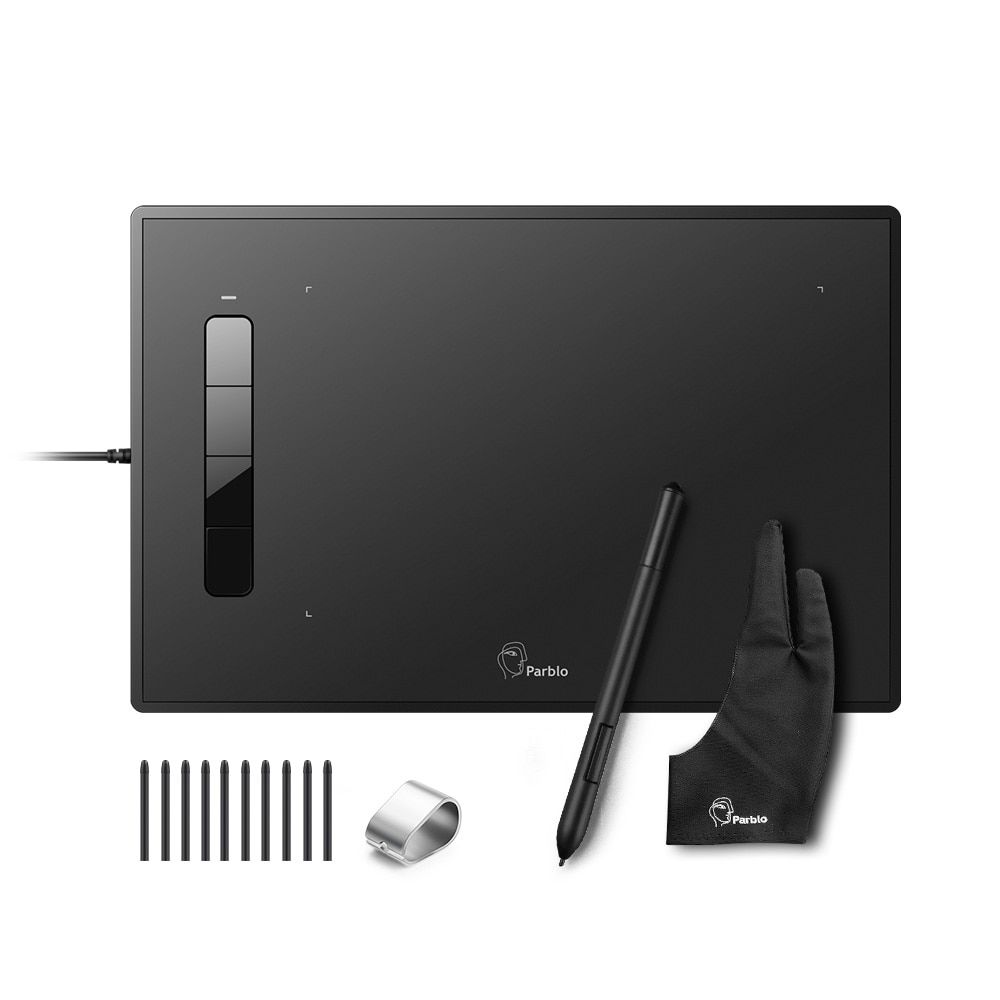Professional Parblo Island A609 Graphic Tablet with 2048 Levels Pressure Battery-free Pen+Two-Finger Glove+Replacement Nibs Kit
