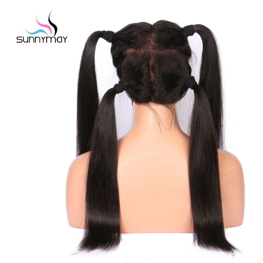 Sunnymay pré plumé pleine dentelle perruques de cheveux humains avec bébé cheveux droite pleine dentelle perruques blanchies noeuds Remy sans colle perruques de cheveux