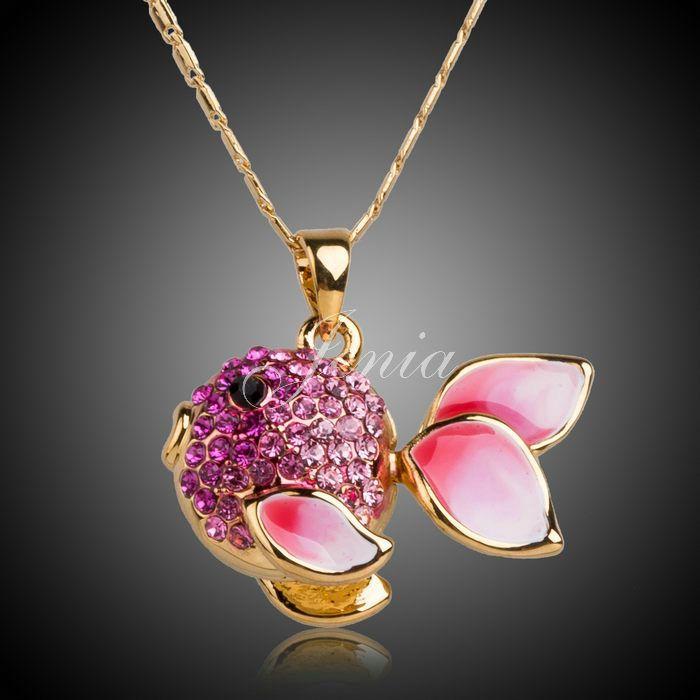 Jenia Diseño Único Rosa Rhinestone Colgante de Los Pescados del Esmalte del Color del Oro Collar Pendiente Para Las Mujeres Y Los Hombres XN013