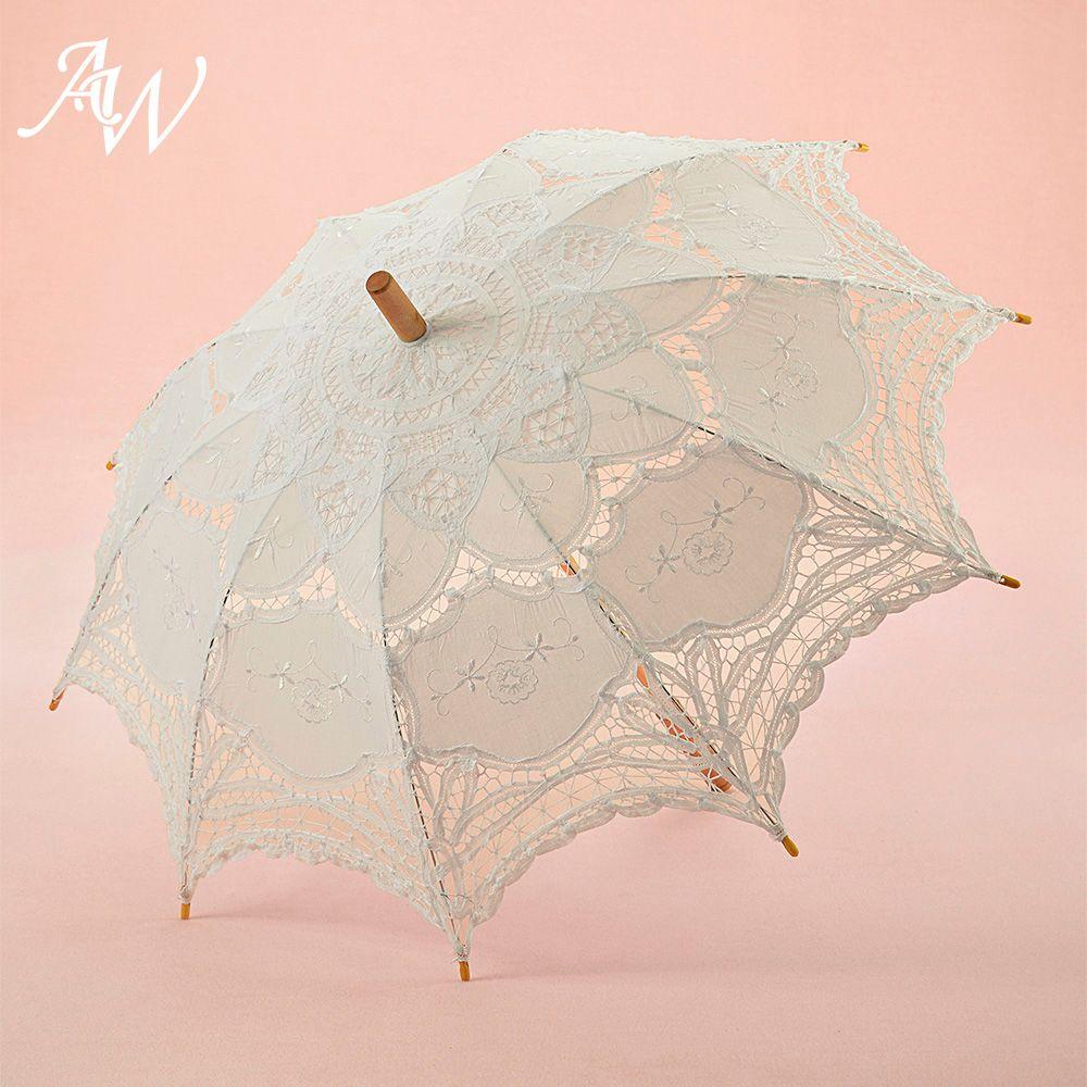 AW Ivory Vintage Lace Bridal Parasol Wedding Party Sun Umbrella for Wedding Bridal Photo Props Shower Decoration