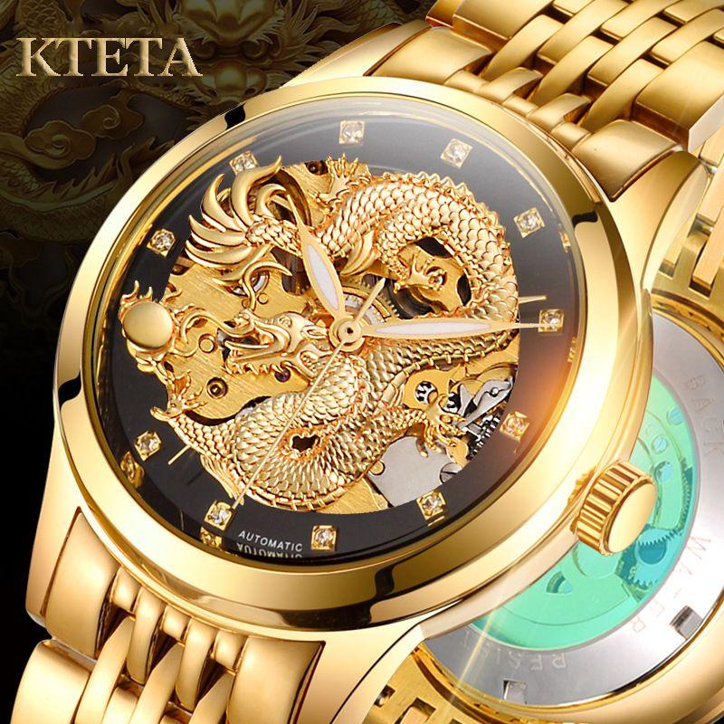 Reloj Hombre Dragon Skeleton Automatic Mechanical Watches For Men Wrist Watch Steel Strap Gold Clock 50m Waterproof Male Hodinky