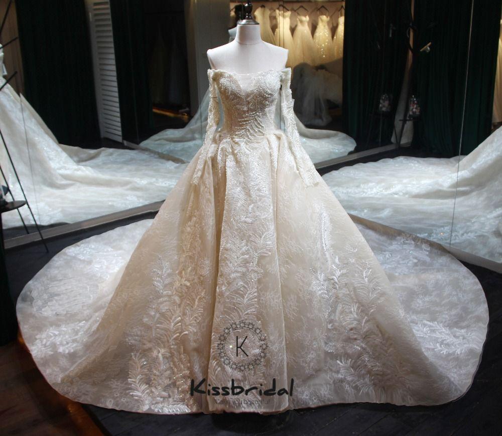 Vestido de noiva longo New Elegant Long Wedding Dress 2018 Boat Neck Long Sleeve Chapel Train Appliques Tulle A-Line Bridal Gown